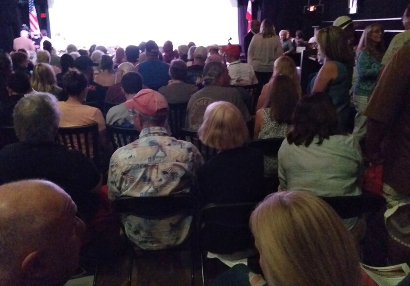About 475 people crowded into the Aug. 28 American Liberty Forum of Ramona meeting held in Ramona Mainstage Theater.