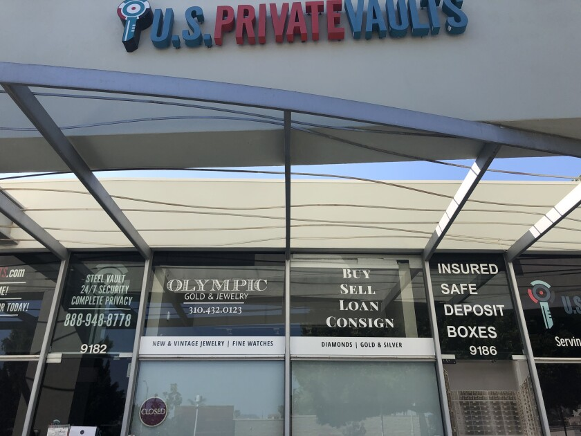 U.S. Private Vaults store in a Beverly Hills strip mall.