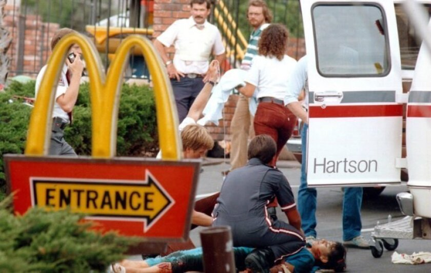 Medics tend to some of the victims at the July 18, 1984 massacre at McDonald's in San Ysidro.