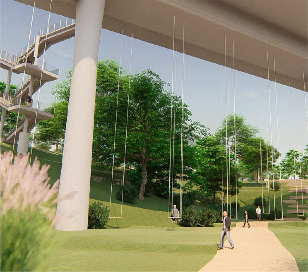 Artist rendering of the proposed play swings by visual artist Ann Hamilton. UC San Diego
