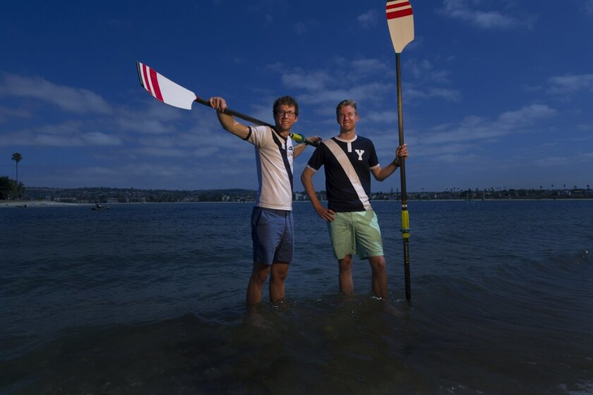 David and his brother Bryan Devries (right) both relax in Mission Bay were they would often work out. Both brothers now crew for Yale University.
