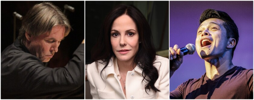 A photo collage of three performers.