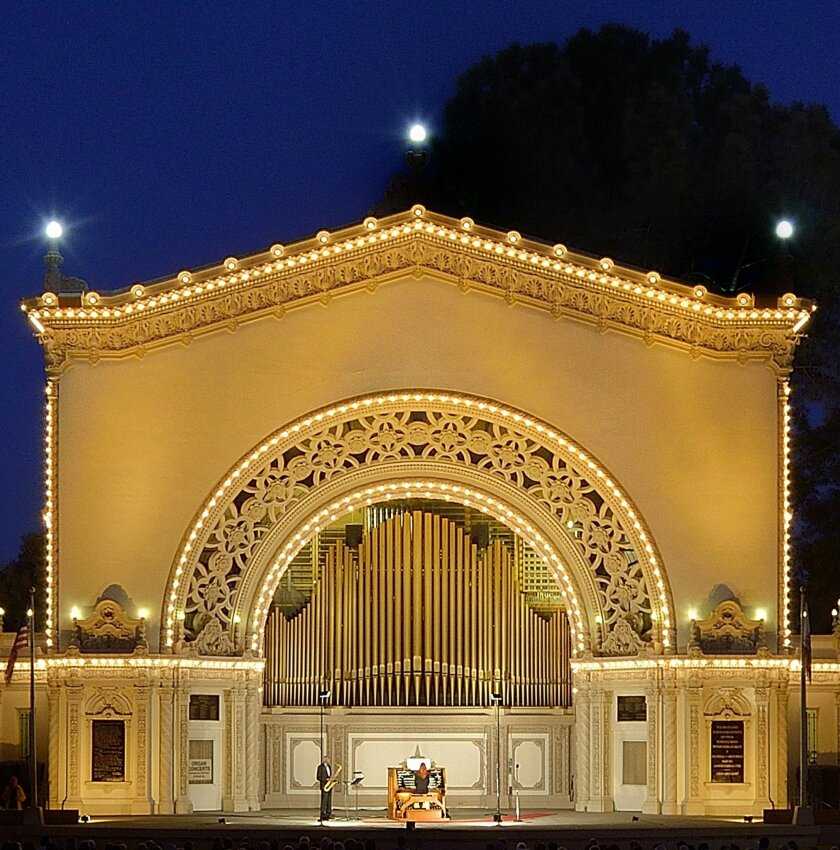The capstone of the evening will be a reveal of the newly refurbished, gold mica pipe facade, and the announ-cement that with pipe additions funded by supporters, the Spreckels Organ is on its way to again becoming the largest outdoor pipe organ in the world. Courtesy photo