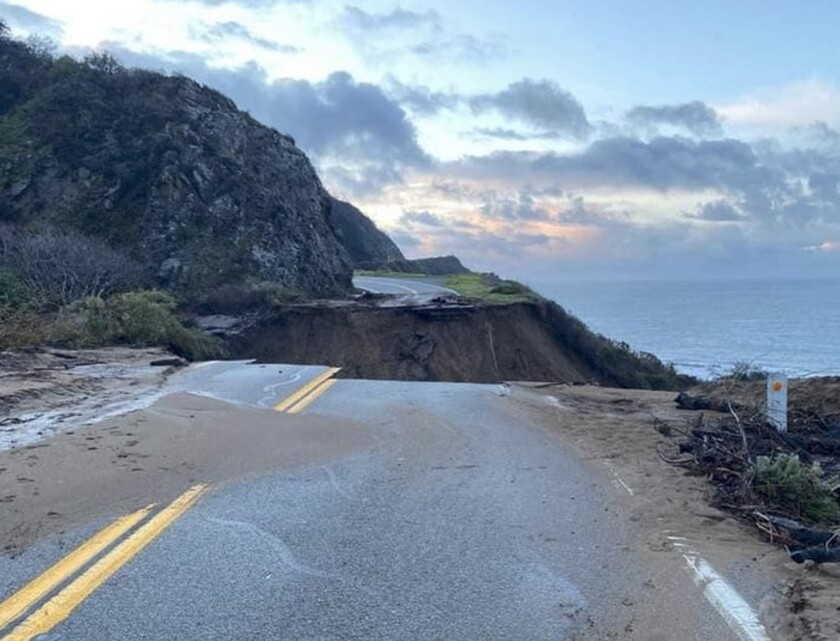 Highway 1 at Rat Creek, where a slide washed out 150 feet of roadway.