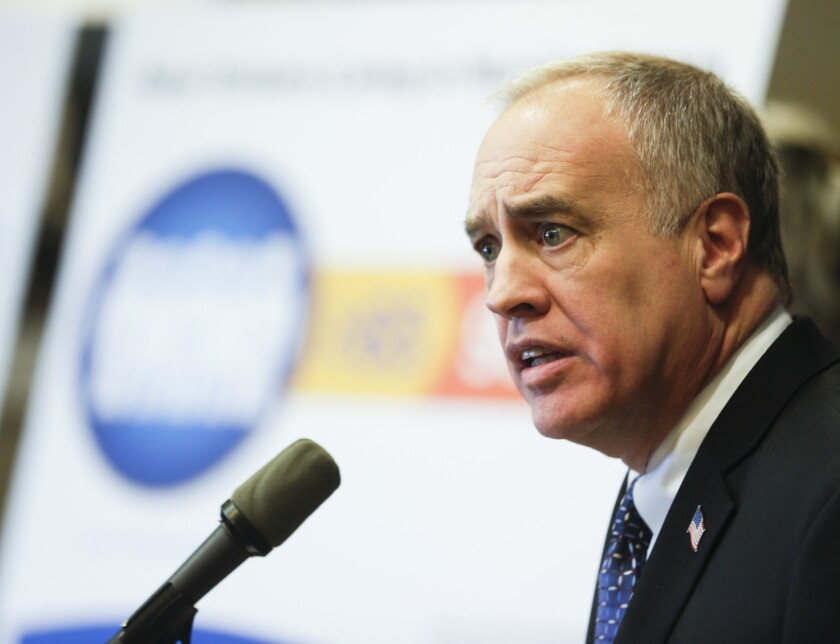 New York State Comptroller Thomas DiNapoli talks about findings of a statewide audit of nursing homes during a news conference, Feb. 22, 2016, in Albany, N.Y.