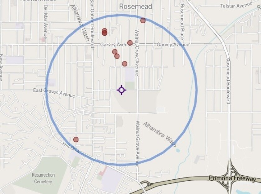 Purple marker shows location of a stabbing Friday that led to a sheriff's deputy shooting and killing a man suspected in the attack. The red circles mark locations of nearby homicides since 2007.