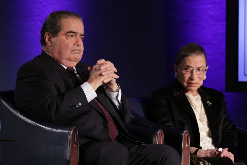 Justices Antonin Scalia and Ruth Bader Ginsburg discuss the Supreme Court.
