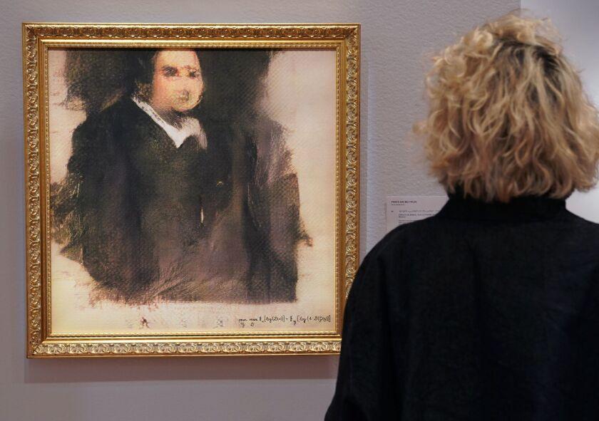 """Portrait of Edmond de Belamy"" sold for $432,500 on Thursday."