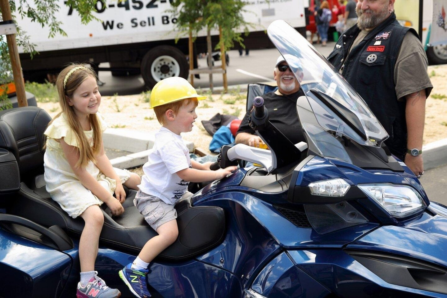 Evelyn and James Lande on a Cam-An Spyder brought in for the event from the SD Chapter of the Spyder Riders of America