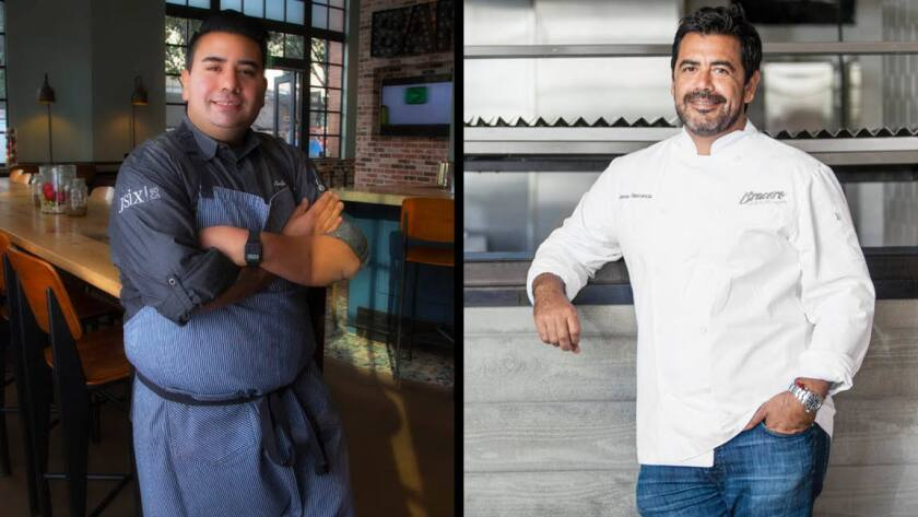 Chef Anthony Sinsay (left) and chec Javier Plascencia will collaborate on a dinner that celebrates both Filipino American Heritage Month and National Hispanic Heritage Month.