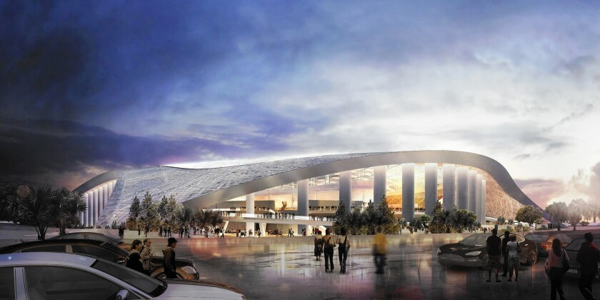 The massive stadium envisioned for a site in Inglewood is to be sunk 100 feet into the ground and covered with a sweeping, translucent roof. Its complex becomes one of the most anticipated pieces of architecture in the local pipeline.