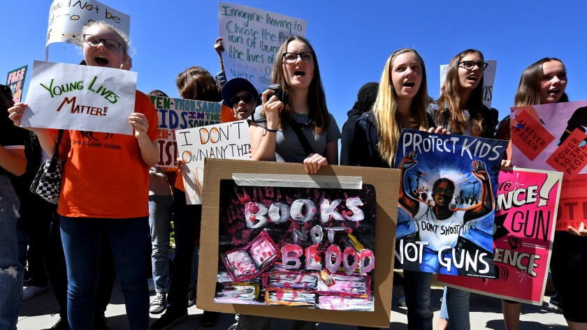 Students in Santa Monica participate in a walkout demonstration as part of the National School Walkout for Gun Violence Prevention campaign on Apr. 20, 2018.