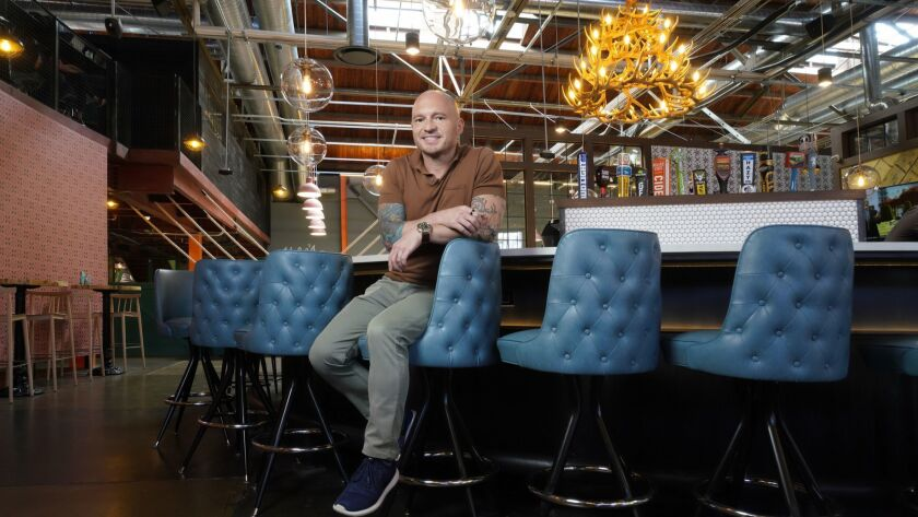 "Robert Thompson, CEO of Punch Bowl Social, which will open its 14th ""eatertainment"" complex June 9 in San Diego's East Village."