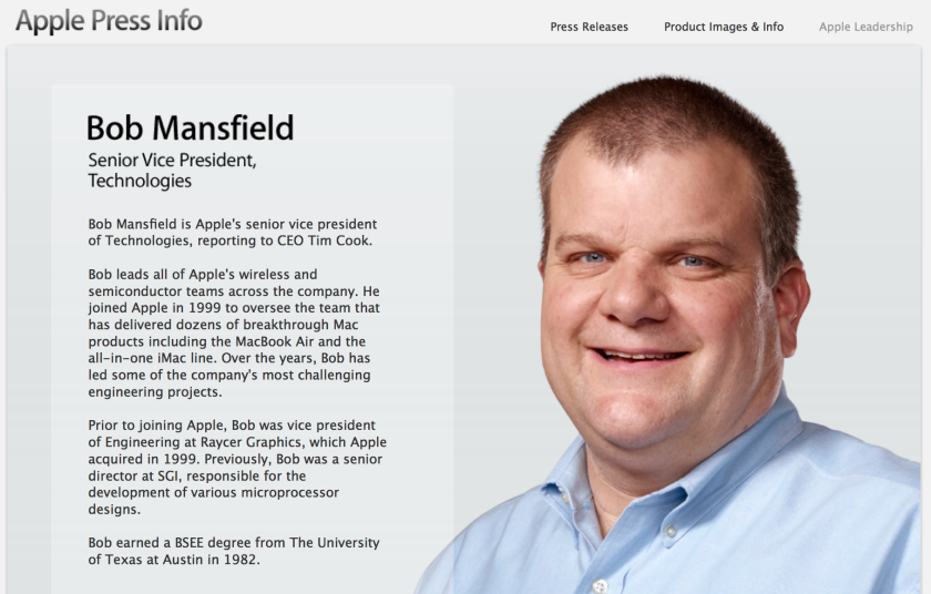 Bob Mansfield will no longer be on Apple's executive team but will continue to work on special projects for the company.