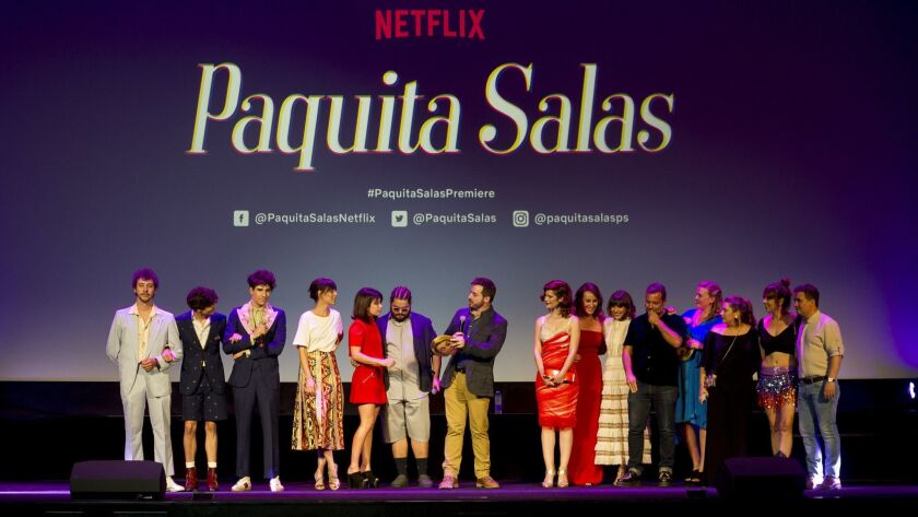 """The cast of Netflix's """"Paquita Salas"""" appear at the world premiere of the show's second season on June 28 in Madrid."""