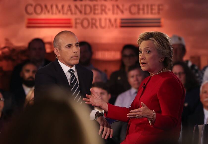 Matt Lauer and Hillary Clinton in 2016 during NBC News' Commander-in-Chief Forum in New York City.