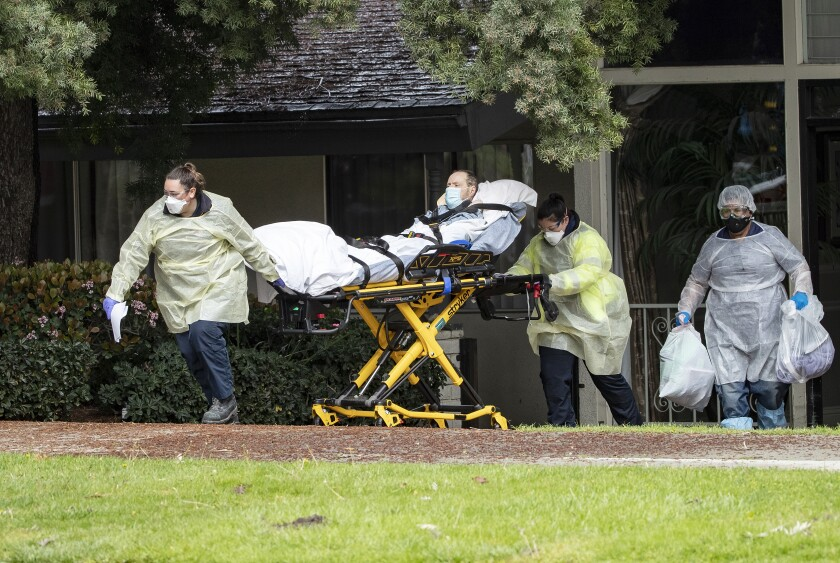 Patients are moved from the Magnolia Rehabilitation and Nursing Center in Riverside in April after staff failed to show up.