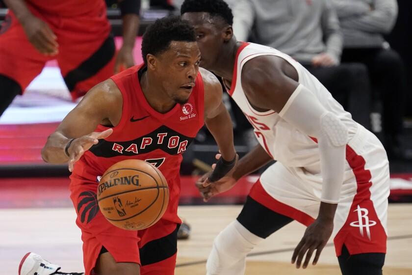 En foto del 26 de febrero del 2021, el base de los Raptors de Toronto Kyle Lowry