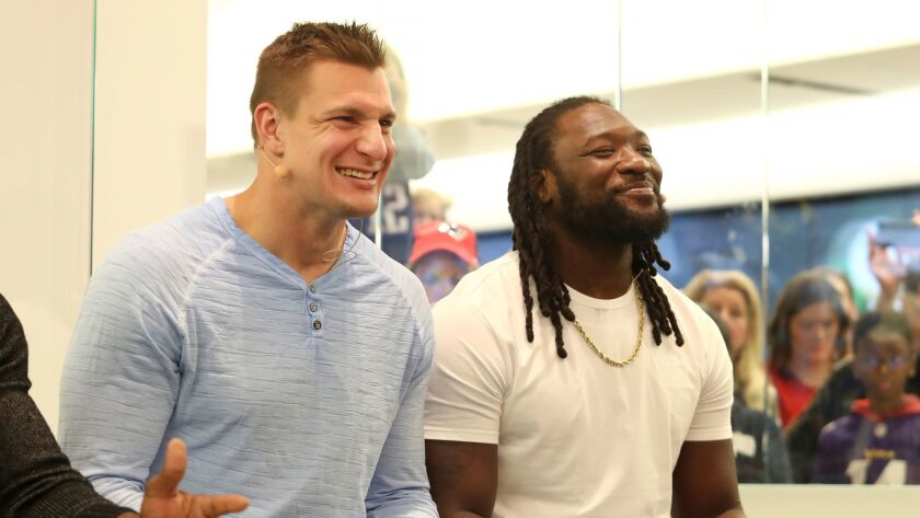 New England Patriots Rob Gronkowski and Philadelphia Eagles LeGarrette Blount join Xbox Live Sessions: Super Bowl Edition at the Microsoft Store at Mall of America on Tuesday.