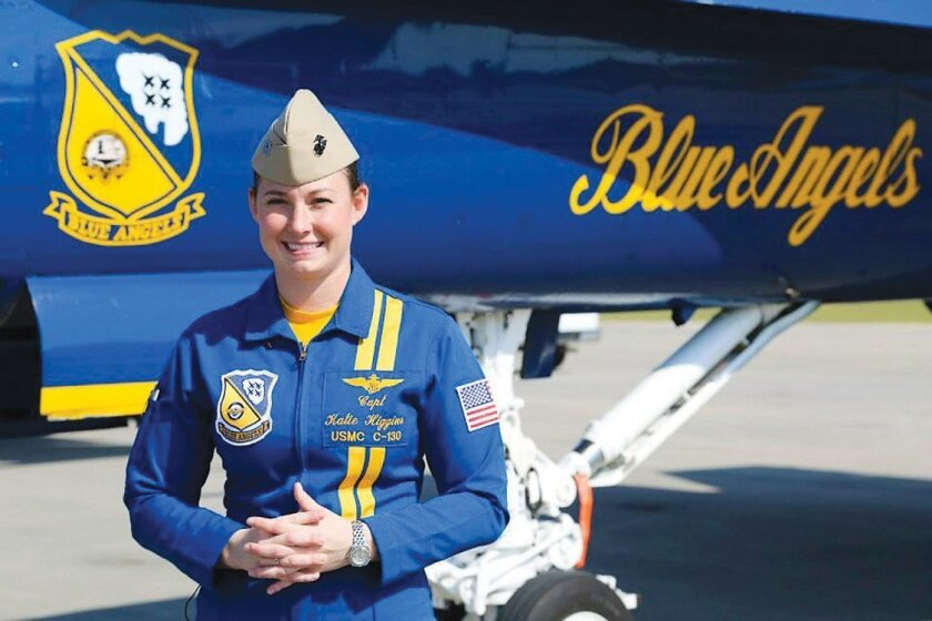 """Marine Capt. Katie Higginsis the first female pilot with the U.S. Navy Flight Demonstration Squadron, or Blue Angels. The Severna Park, Md., native, is now the newest pilot of """"Fat Albert,"""" a C-130 Hercules flown by the Blue Angels. (U.S. Marine Corps photo by Lance Cpl. Olivia G. Ortiz/Released)"""