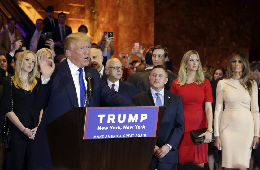 Donald Trump surrounded by family and supporters.