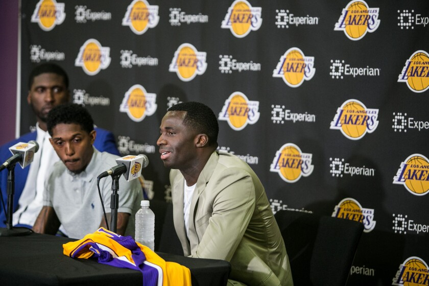 Brandon Bass fields a question during an introductory news conference at the Lakers' training facility in El Segundo.