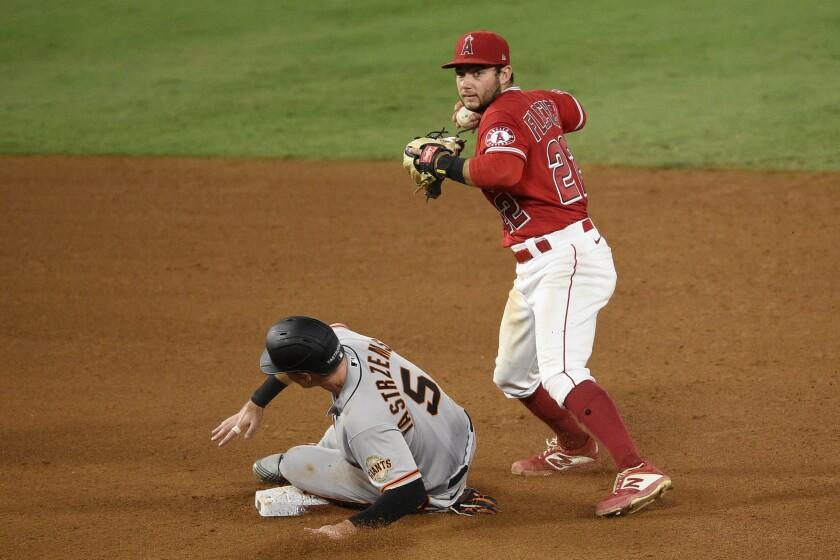 Angels shortstop David Fletcher forces out San Francisco Giants' Mike Yastrzemski