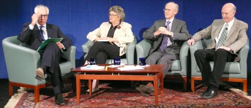 The conversation about Jonas Salk with Gary Robbins, Mary Walshok, Peter Salk and Jonathan Salk on Oct. 30, 2015, was taped by UCTV for broadcast beginning Nov. 20 on the Library Channel.