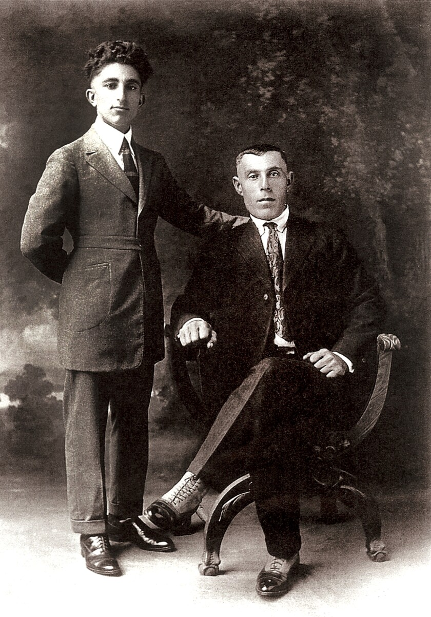 Aram Arax, standing, with Yervant Janigian shortly after they arrived in Fresno, Calif. in 1920.