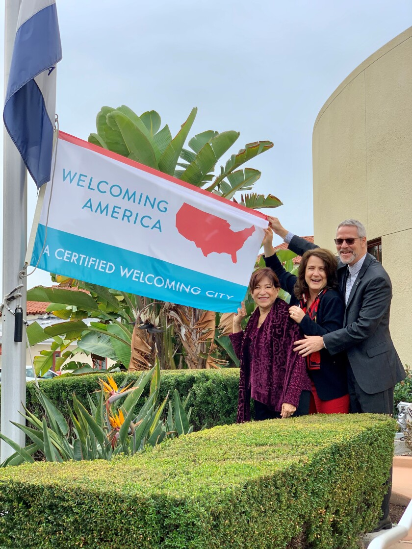 Chula Vista celebrated its designation as a welcoming city on Tuesday, when it raised a flag that honors the recognition