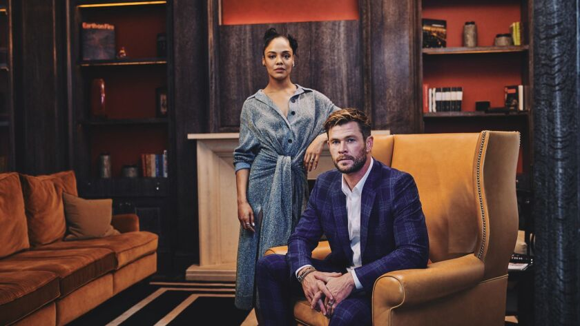 """Chris Hemsworth and Tessa Thompson, the new agents of """"Men in Black: International,"""" photographed at the Corinthia Hotel in London on June 2, 2019."""