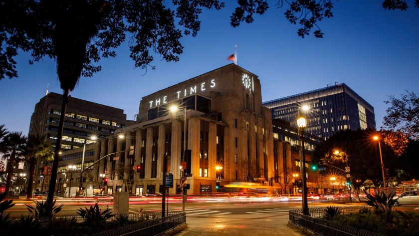 LOS ANGELES,CA --THURSDAY, FEBRUARY 15, 2018--The Los Angeles Times building in downtown Los Angeles