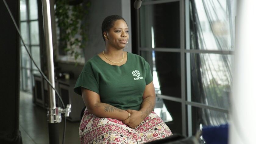 """This image released by PBS shows activist and Black Lives Matter co-founder Patrisse Cullors during the filming of the documentary """"Not Done: Women Remaking America,"""" debuting Tuesday on PBS stations. (PBS via AP)"""