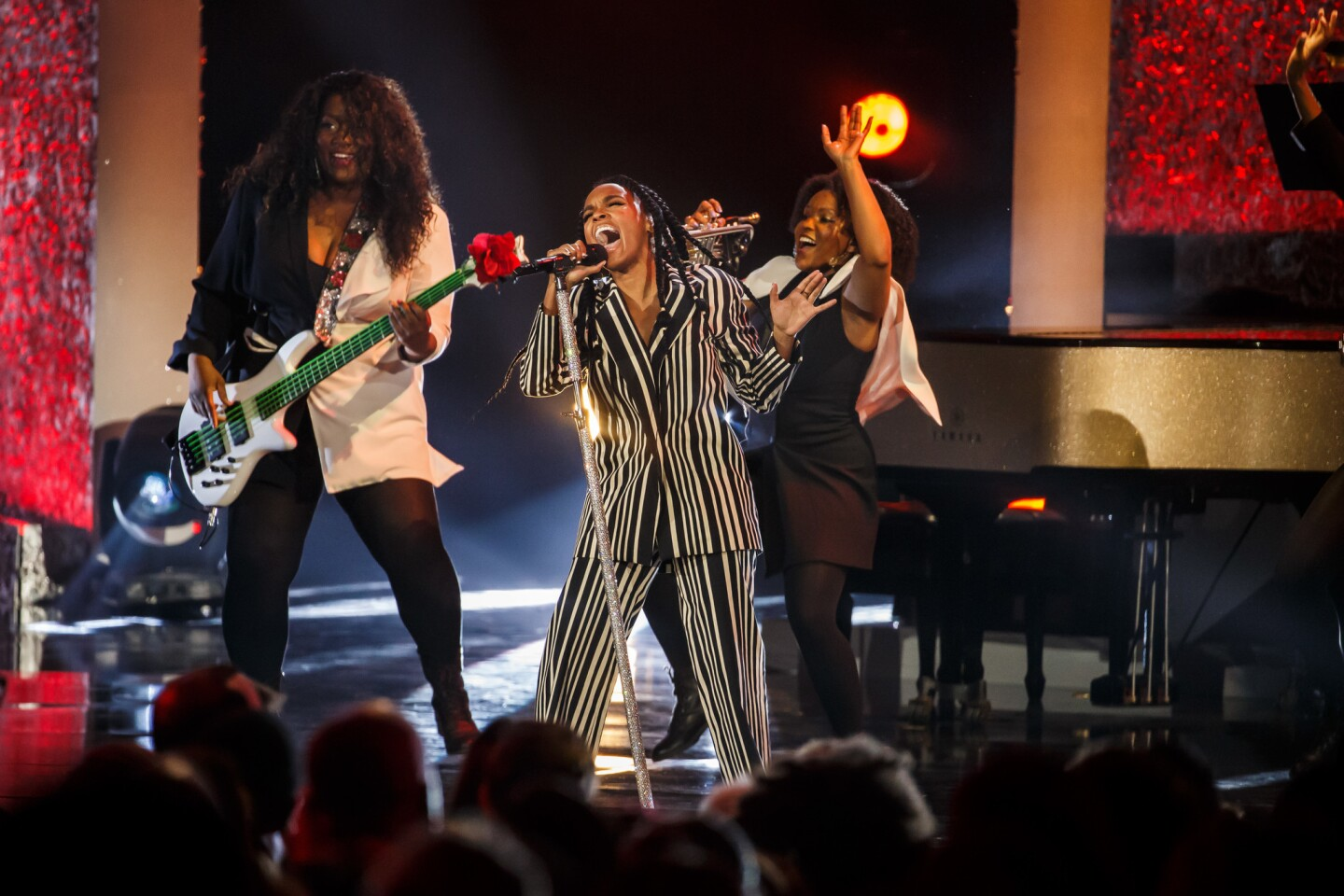 """Janelle Monae performs for Aretha Franklin's tribute concert, """"Aretha! A Grammy Celebration for the Queen of Soul,"""" at the Shrine Auditorium in Los Angeles."""