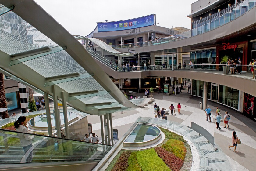 The remodeled Santa Monica Place sits across the street from the historic Sears store in Santa Monica in 2012.