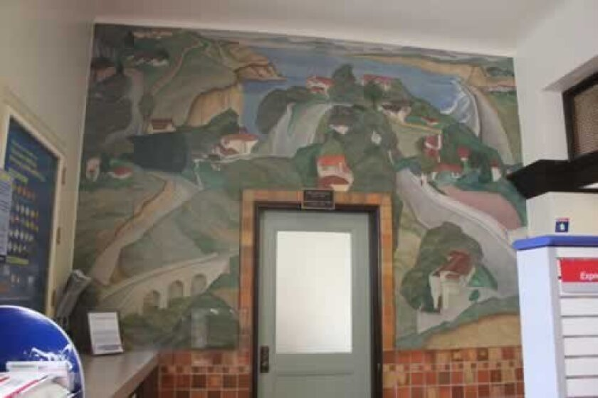 The WPA-era mural, 'Scenic View of the Village,' by Belle Baranceanu hangs on a wall in the La Jolla post office at 1140 Wall St. Ashley Mackin