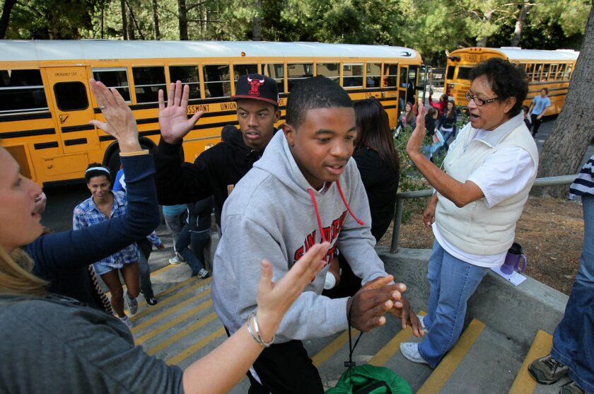 Students are greeted as they arrive for the three-day Camp LEAD.