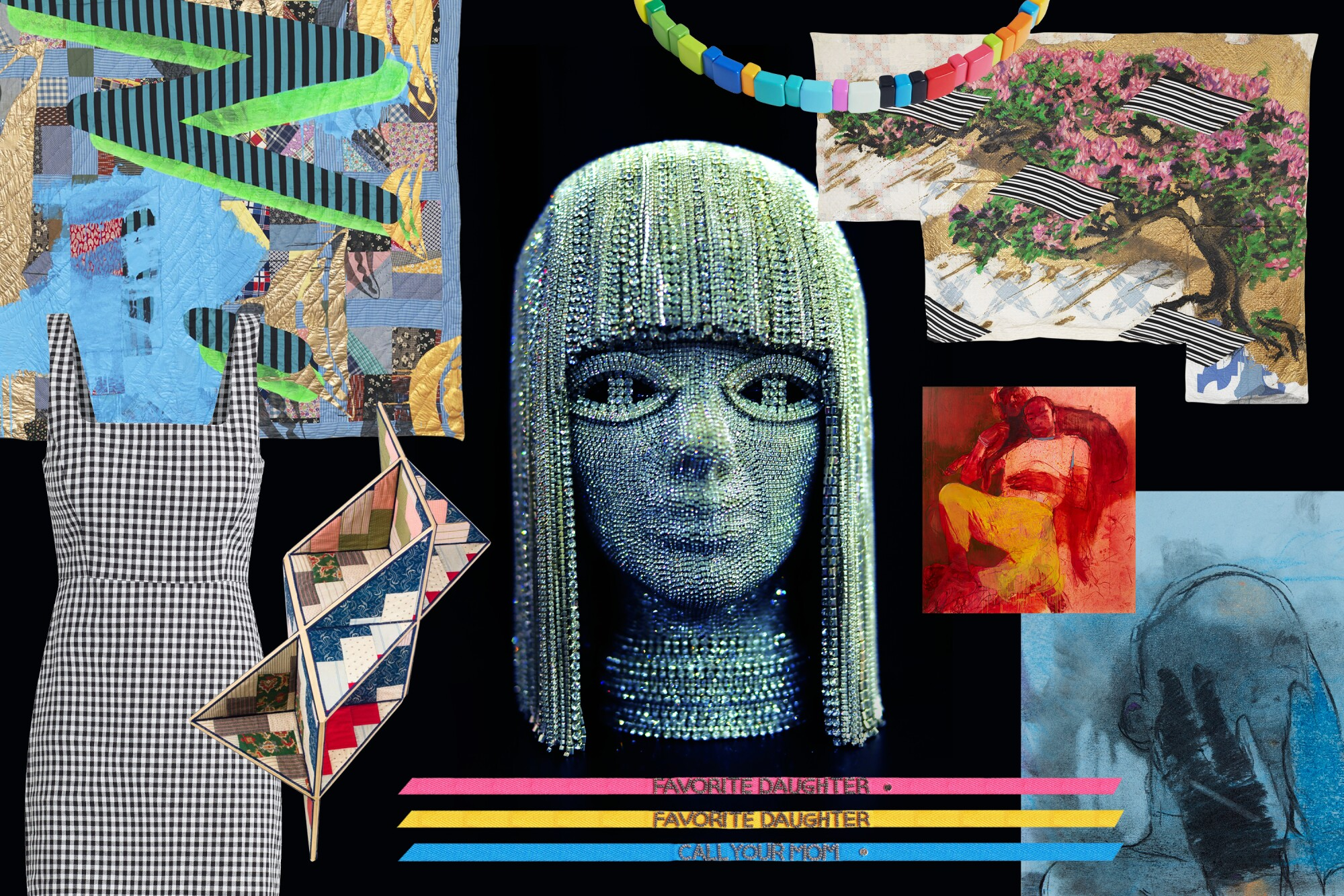 Collage of clothes, sculptures, art in 10 Los Angeles events.