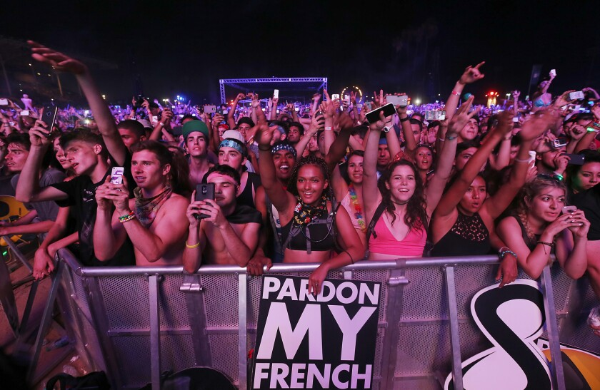 Fans during Hard Summer at the Fairplex in Pomona on Saturday, Aug. 1.