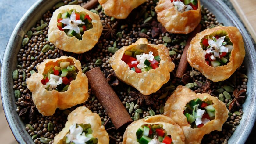 SAN DIEGO, CA May 4th 2018 | Pani Puri hors d'oeuvres for the Artisan Table Dinner event at A.R. Val