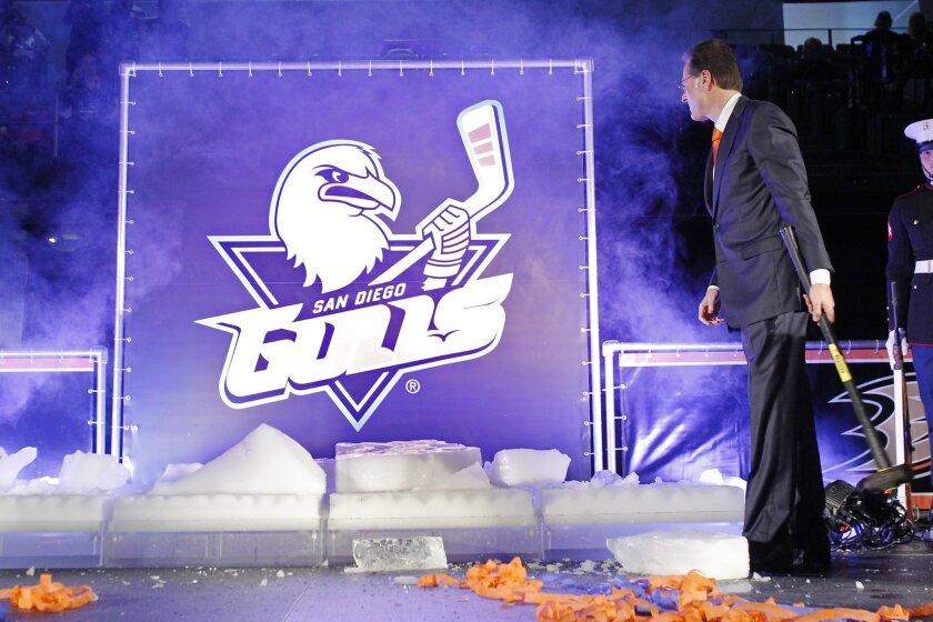 "Anaheim Ducks owner Henry Samueli unveiled the club's AHL San Diego Gulls at ""HockeyFest""."