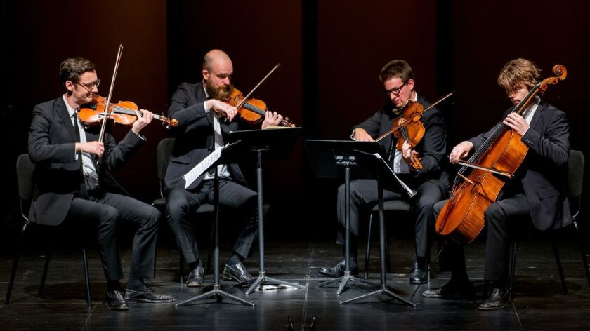 The Calder Quartet closes out a three-year residency at the Broad Stage on Sunday.