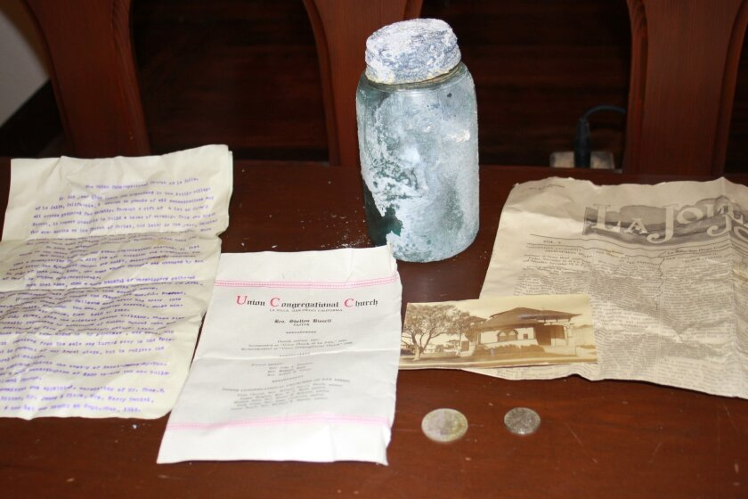 The 100-year-old time capsule contained coins, letters, a church photo and a copy of The La Jolla Journal newspaper from 1916.