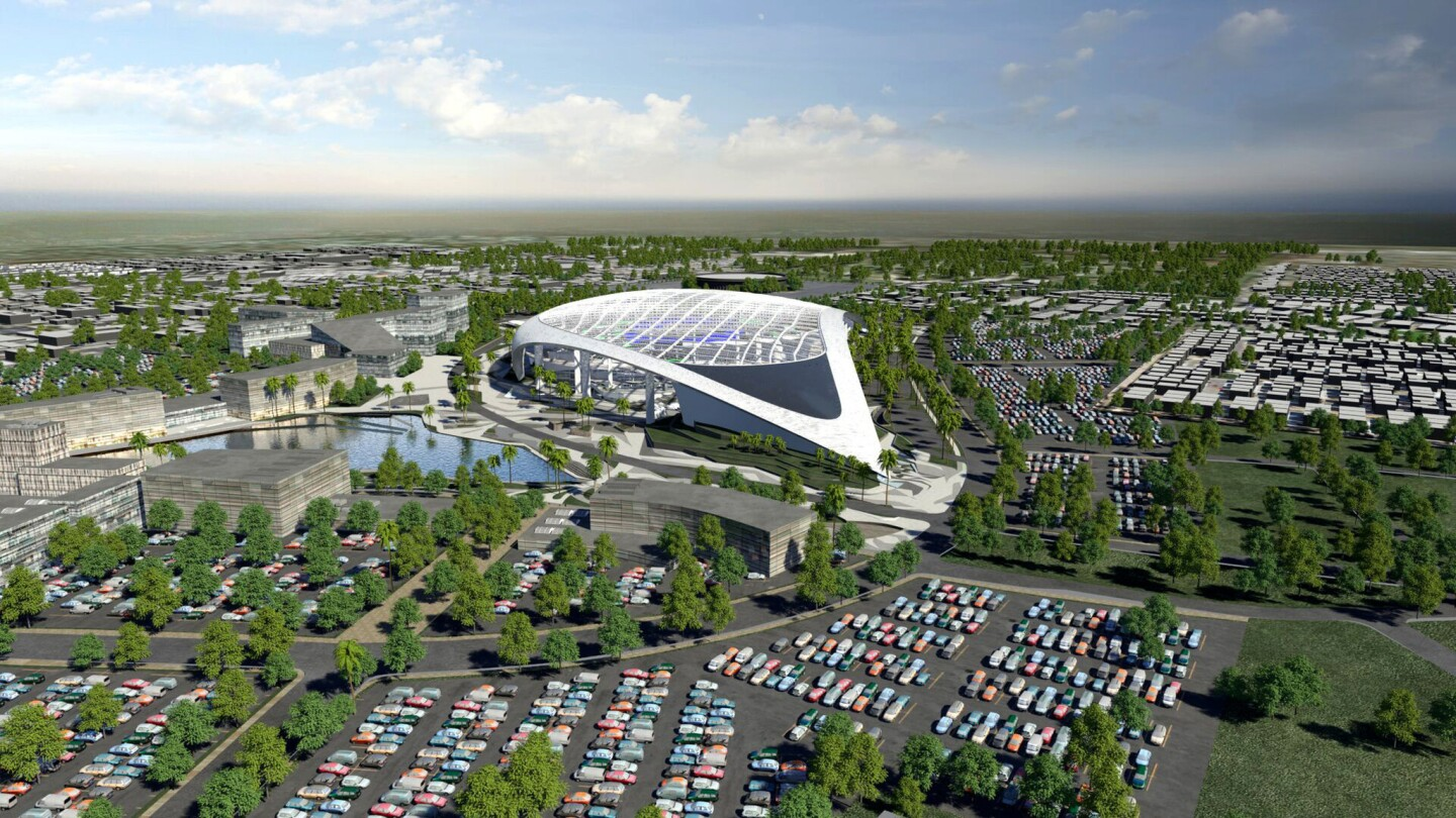 An artist's rendering from a southeast vantage point of the new NFL stadium in Inglewood.