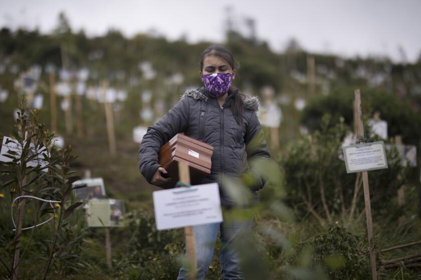 Un familiar porta una urna con los restos cremados de Alejandro Arenas, quien falleció por complicaciones relacionadas con el COVID-19, para ser esparcidos en un cerro de la Reserva Natural El Pajonal de Cogua, al norte de Bogotá, Colombia, el jueves 24 de junio de 2021. (AP Foto/Ivan Valencia)