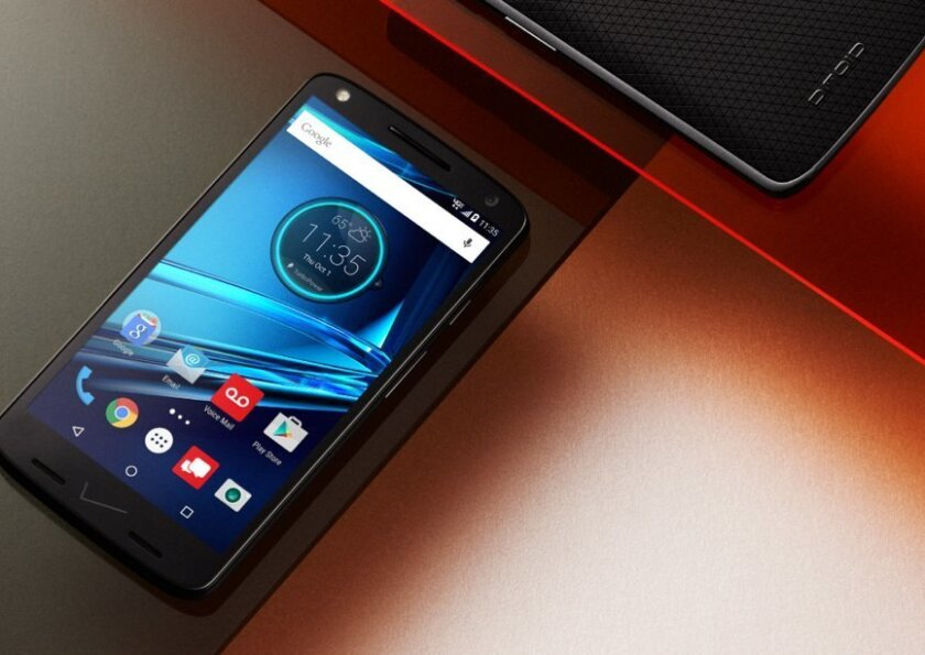 This photo courtesy of Motorola shows the Motorola Droid Turbo 2. Motorola replaced glass with various forms of plastic to make its 5.4-inch screen shatter-proof. The glass can crack if it hits a hard surface with enough force. (Motorola via AP)
