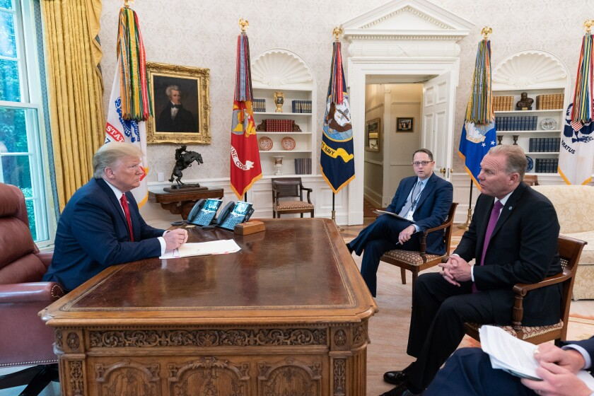 San Diego Mayor Kevin Faulconer met with President Donald Trump in the Oval Office on Tuesday.