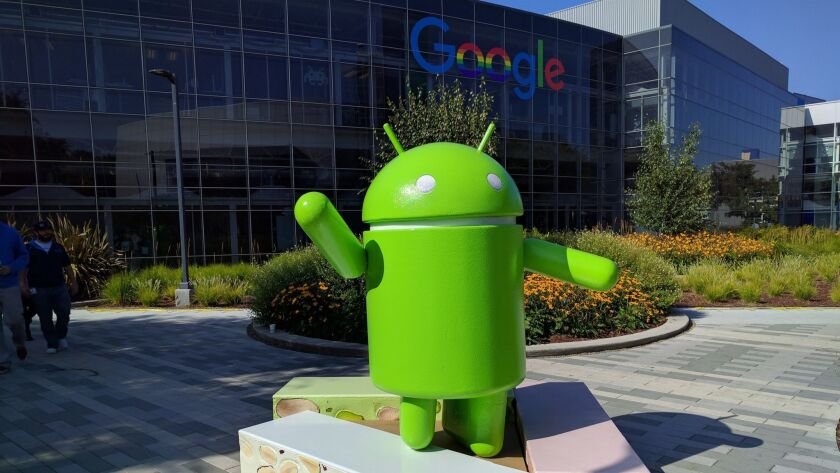 An Android statue at Google's campus in Mountain View, Calif.