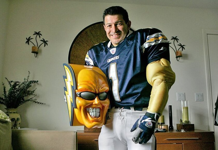 The face of Boltman, a familiar one to Chargers fans, has been unmasked. Dan Jauregui of Ramona was planning to give up the character and hoping to find a buyer on eBay, but nobody's bidding.