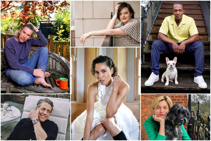 A collage of photos of Ethan Hawke, Elisabeth Moss, Anthony Mackie, Emma Corrin, Jurnee Smollett and Hugh Grant